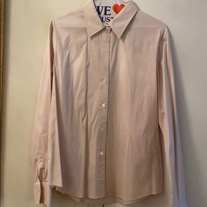 Theory stretch cotton button down pale pink